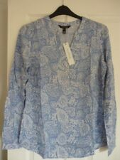 LONG TALL SALLY BLUE WHITE FLORAL L/S BLOUSE TOP. UK 16, EUR 44, US 12. BNWT