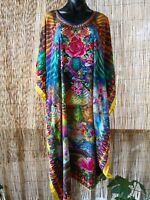 Plus Size Satin-Like Embellished Long Kaftan Dress One Size 16 to 24 Free Post