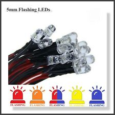 FLASHING 5mm Pre-Wired LED Bulbs ( 5pcs )  9v-12v  in 5 Different Colours