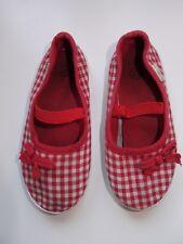 Zapatillas de tela para niña, color rojo y blanco, numero 27. Dossan
