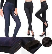 Womens Winter Thermal Jeans Fleece Lined Stretch Denim Leggings Warm Jeggings