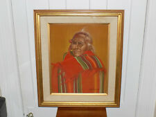 Indian Pastel by Artist Robin Anderson Framed under Glass 1975
