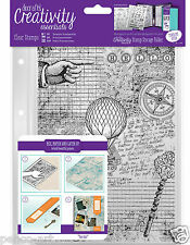 Docrafts Papermania A5 Steampunk sfondo Stamp Set + CARTELLA di Archiviazione Tasca