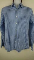 Boss Hugo Boss Men 15.5 34 / 35 Blue Striped Shirt Long Sleeve Career Casual A