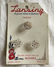 "3 Vintage Clear Buttons Gold Hearts Lansing Card Western Germany 1/2"" #6310"