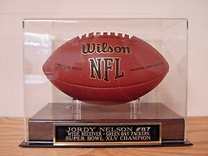Jordy Nelson Football Display Case With A Green Bay Packers Engraved Nameplate