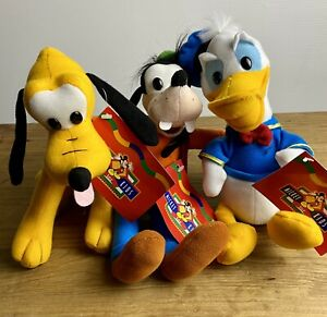"""Mickey For Kids 9"""" 23cm Plush's x3. Goofy, Donald And Pluto. NWT"""