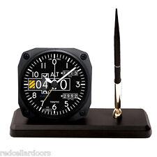 TRINTEC ALTIMETER Desk Pen Set Aviator Altitude Alarm Clock Guage DS20 New