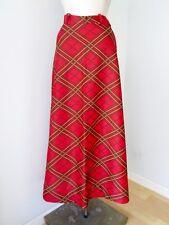 Vtg 70s Mod Red Black Gold Scotch Plaid Poly Knit Full Length Maxi Disco Skirt 8