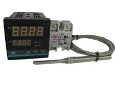 Universal PID Temp Controller w SSR and High Temp Probe (1250 Celcius, 2 Alarms)