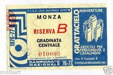 CALCIO   BIGLIETTO  TICKET   MONZA    RISERVA  B    CAMPIONATO   1976/77