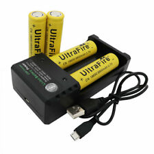 4X Batterie 18*65mm 9800mAh 3.7V Li-ion Rechargeable Flat Top&USB Chargeur-Lamp