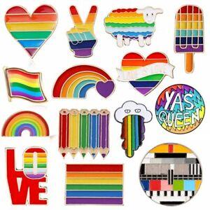Cartoon Rinbow LGBT Gay Pride Peace Love Brooch Enamel Collar Pin Corsage Gift