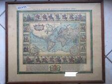 riproduzione di antica stampa carta geografica EUROPA ed AMERICA incorniciata da
