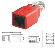 goobay netzwerk cross crossover adapter stecker buchse x-link gekreuzt rot