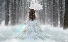 Framed Print - White Dress Woman Walking in the Snowy Woods (Gothic Picture Art)