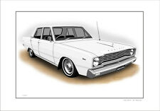 VALIANT  VE REGAL  SEDAN  LIMITED EDITION CAR DRAWING  PRINT  ( 6 CAR COLOURS)
