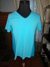 NWT Curves Womens Two Tones Blue  Athletic Top  V-Neck Cotton/ Spandex Size XL