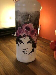 Beautiful Decoupage Bottle, Light, Lamp, Unique Handmade, Ladies Face