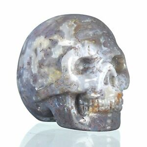 """1.57""""Natural Moss Agate Carved Skull Metaphysic Healing Power #33Q99"""