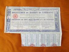 RARE OBLIGATION DE 5000 FR HOUILLERES DU BASSIN DE LORRAINE 1947 MINES MOSELLE