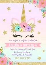 Unbranded birthday child greeting invitations ebay unicorn invitation unicorn birthday invitation floral gold pink stopboris Choice Image