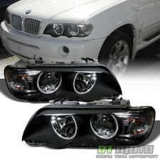 Black 2000-2003 BMW E53 X5 LED Halo Projector Headlights Headlamps Left+Right
