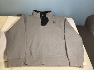 Spyder Ski Snow Men's Pullover  Gray Quilted 1/4 Button Jacket Size Medium