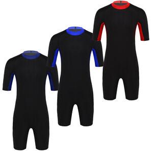 Mens Diving Wetsuit Swimwear Short Sleeve Snorkeling Surf Swim Wet Suit Jumpsuit