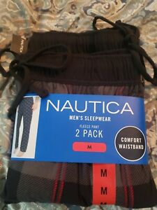 Nautica Sleepwear Mens Fleece Pants Comfort Waistband medium 2 pack