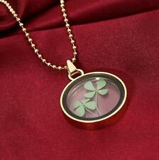 Green Real Dried Four Leaf Clover Round Pendant Good Lucky Necklace Jewelry