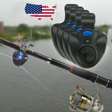 4x Electronic LED Light Fish Bite Sound Alarm Bell Alert Clip On Fishing Rod US