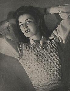 Vintage Knitting Pattern 1940s Lady's Sleeveless Top/Slipover/Tank Top