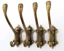 4 Old Style Solid Brass Double Wall Mount 180° Swivel Coat Hat Towel Hooks #C24