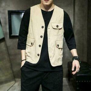 New Men Chinese style Cotton Linen Vest Sleeveless Jacket Thin Summer Waistcoat