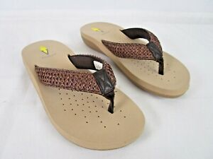 Volatile Brown Braided Thong Flip Flop Size 9  On Eva Footbed