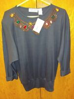 Adriano By I. Fatigati Women's Black Sweater Rhinestones shoulder Pads Sz Small