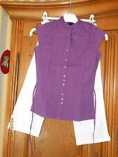 Ensemble pantacourt blanc et blouse violet 10 ans