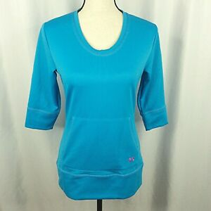 Under Armour All Seasons Gear Top Womens Small Turquoise Blue 3/4 Sleeve Pocket