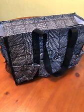 Thirty One Zip Top Travel Diaper Bag Black & White Stripe  112