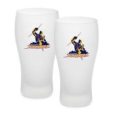 Melbourne Storm NRL Frosted Glass Schooner Beer Glasses Set of 2 Man Cave Bar
