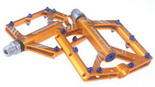 MTB Mountain Road Bike Pedals 4 bearings Bicycle Flat Platform Pedal Gold blue
