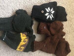 1 PAIR NEPAL SHERPA Hunter Glove Knitted Wool Double Mitten Fingerless Random