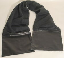 Ralph Lauren Purple Label Cashmere Wool Scarf Black Leather Trim $1250  E3E