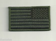 Usa American Flag Subdued Od Reversed 3 3/8 X 2 Embroidered Patch Hook Loop