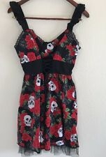 Hot Topic Skulls and Roses dress Red Black White SZ XL