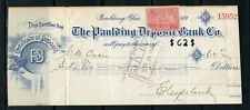 US THE PAULDING DEPOSIT BANK CO, OH CANCELLED CHECK 3/24/1908 WITH REVENUE STAMP
