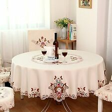 FADFAY American Country Style Vintage Floral Table Cloth Round Table Cloth Round