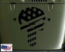 PUNISHER SKULL USA FLAG Hood Door Truck Vinyl Decal 3 sizes (Fits Jeep Wrangler)