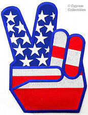 USA PEACE SIGN iron-on ANTI-WAR PATCH EMBLEM LARGE embroidered V VICTORY AMERICA